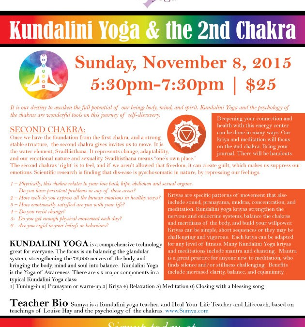 Kundalini Yoga & the 2nd Chakra – Sunday, November 8, 2015